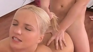 Petite blond teenie is kneeling and starting to engulf lengthy shlong of her boyfriend
